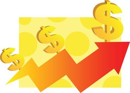 Dollar symbol and arrow Stock Photo - 13377307