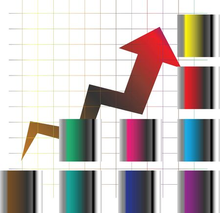 Graph and arrow   Stock Photo