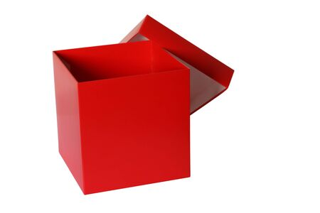 open empty red box photo, isolated on white