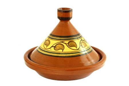 Moroccan Tagine isolated on white, oriental pot for cooking Stock Photo