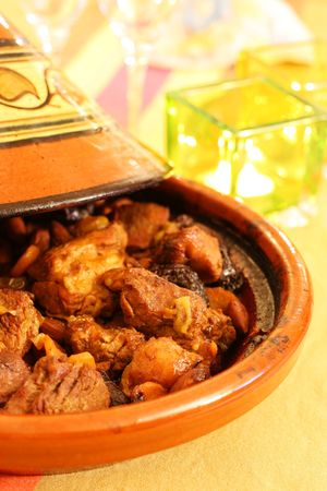moroccan cuisine: Moroccan Tagine, an oriental cooking from north africa
