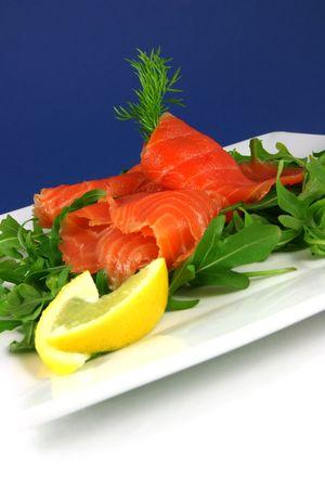 smoked salmon: Smoked salmon on a plate
