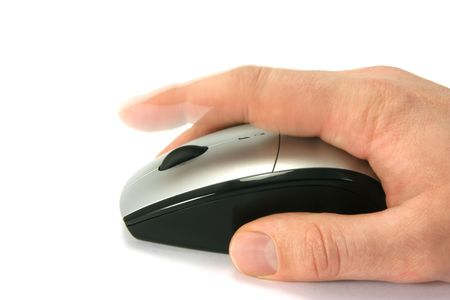 Hand of a man clicking a mouse button, side view, isolated on white, finger in movement Stock Photo - 776030