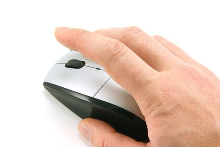 Hand of a man clicking a mouse button, top view, isolated on white, focus on the finger Stock Photo - 776031