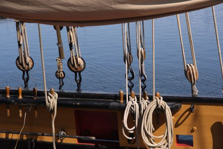 mast: Detail of a wooden sailing ship