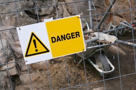 Warning sign in front of a construction zone Stock Photo - 1106641