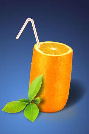 Orange glass, over a blue background Stock Photo - 1412348
