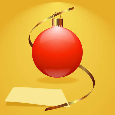 Christmas red bauble background vector illustration, for greetings card. Vector