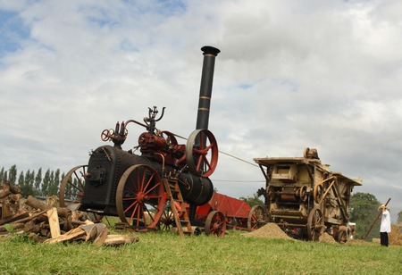 Vintage traction steam engine and threshing machine working in a field at the wheat fest photo