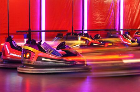Bumper cars in motion in amusement park Stock Photo - 2455812
