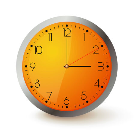 Wall clock with orange face and metal round Vector