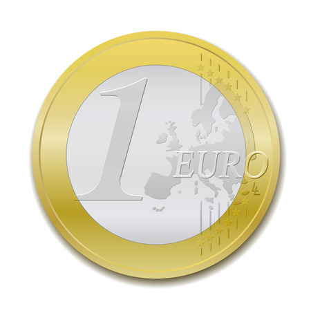 The european union one euro coin, detailed vector illustration