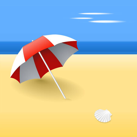 Beach umbrella on a beach, with a scallop shell