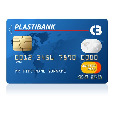Blue credit card vector illustration, highly detailed Illustration