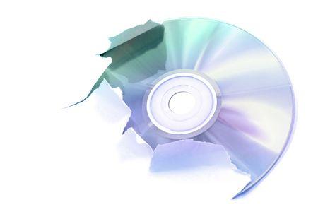 Laser disk tearing a white paper, illustration illustration