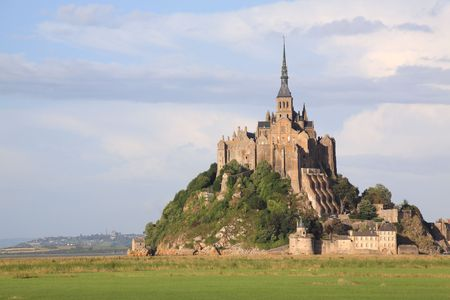 Le Mont-Saint-Michel in the daylight, side view photo
