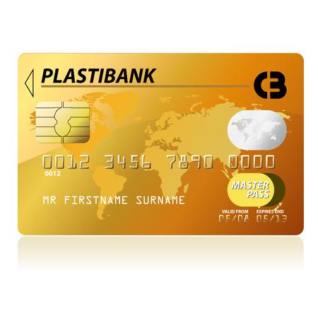 tarjeta visa: Oro tarjeta de cr�dito, muy detallado, Vectores