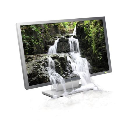 displayed: Waterfall flowing from a landscape displayed on a computer monitor Stock Photo