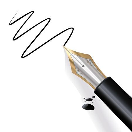 Pluma fuente escrito en papel negro con tinta Ilustración de vector
