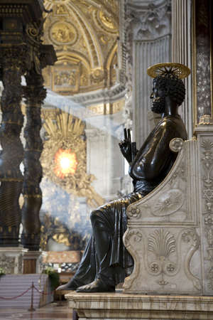 Saint Peter statue in the basilica of Vatican in Rome