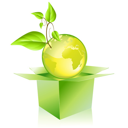 Green planet getting out of the box Vector