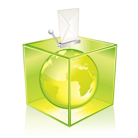 ballot: Transparent green ballot box, vote for the Earth