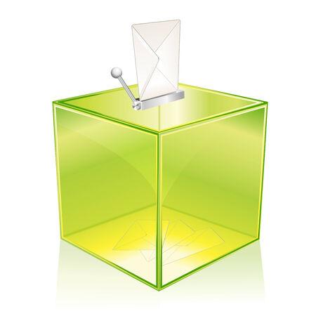 voting: Transparent gr�n Wahlurne, um Ihre Stimme Illustration