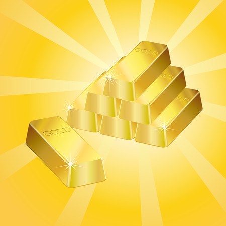 gold ingot: Shiny gold bars over a retro style background