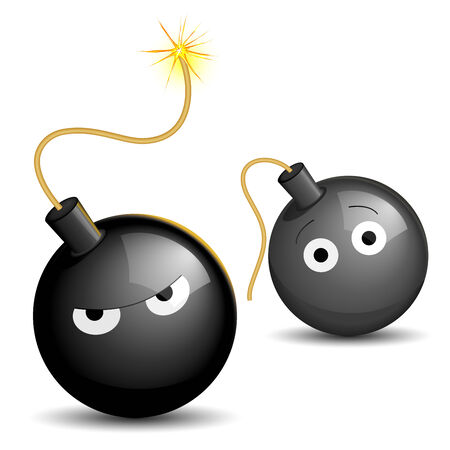 scaring: Vector illustration of a lighted bomb scaring another