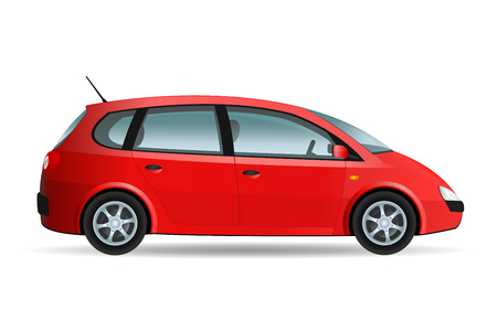 conduct: Vector illustration of a minivan, family car, no brand