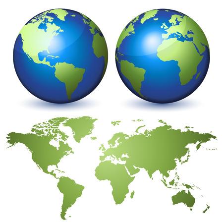 planisphere: Due globi che rappresenta la Terra e un planisfero Vettoriali
