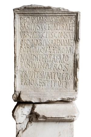 escultura romana: Grabado en piedra Coliseo lat�n con letras