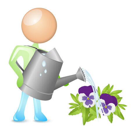humanoid: humanoid watering flowers with a watering can Illustration