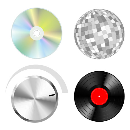 Audio vector objects: discs button and disco ball Illustration