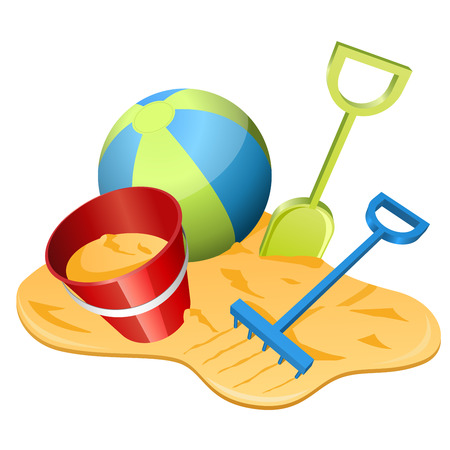 Vector illustration of beach toys in the sand  Vector