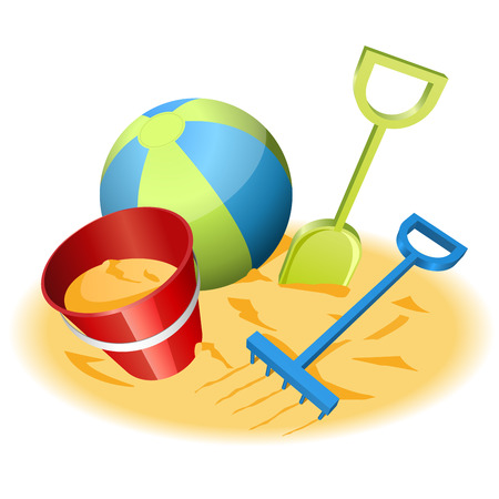 Vector illustration of beach toys in the sand