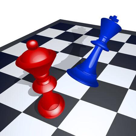 vaincu: Vector illustration du roi vaincu par la reine