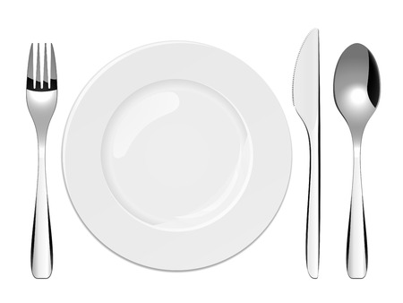 knives: Vector illustration of utensils and porcelain plate