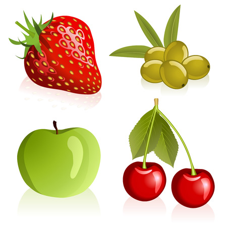 Illustration of strawberry, cherries, olives and apple