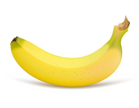 banana skin: Single banana isolated on a white background Illustration