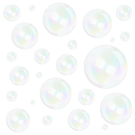 Bubbles background over white, vector illustration