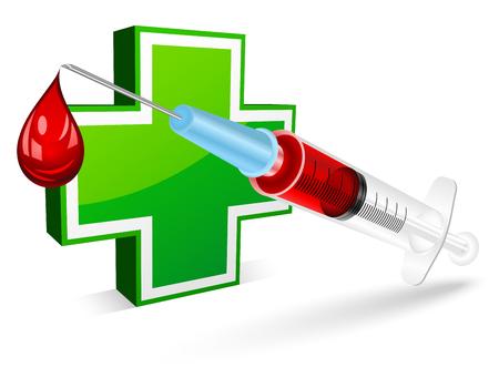blood tests: Syringe for a blood test