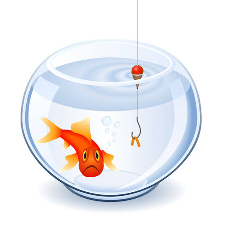 Fishing the goldfish with a worm Stock Vector - 4862479