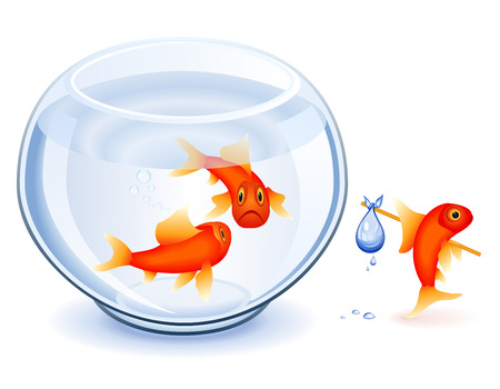 quit: Goldfish moving from his fishbowl with bundle Illustration