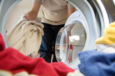 laundry line: Preparation for washing, viewed from inside the washer