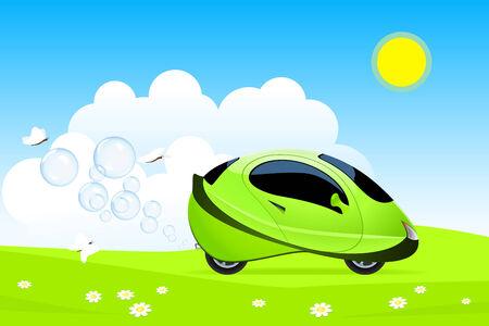 Vector illustration du concept de voiture à hydrogène Vecteurs