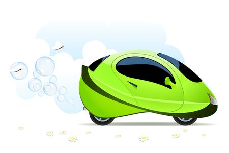 hydrog�ne: Vector illustration du concept de voiture � hydrog�ne sur blanc Illustration