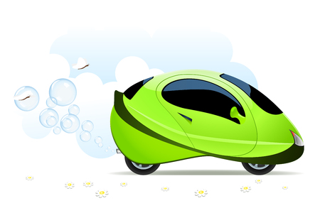 hydrogen: Vector illustration of hydrogen car concept on white