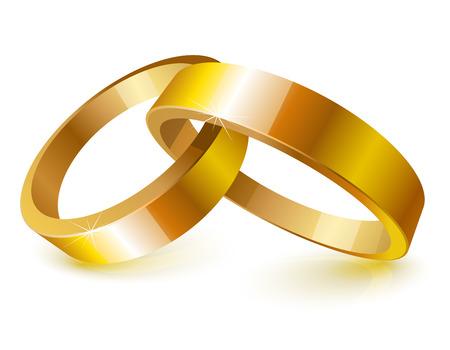 rings: Gold wedding rings over white