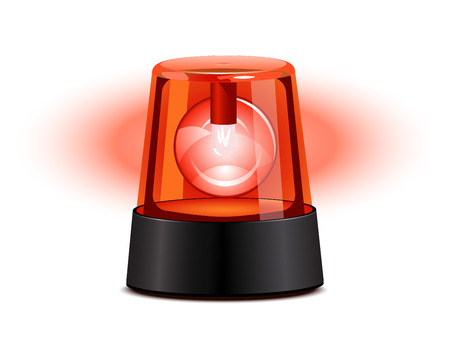 ambulance: Red flashing light over a white background